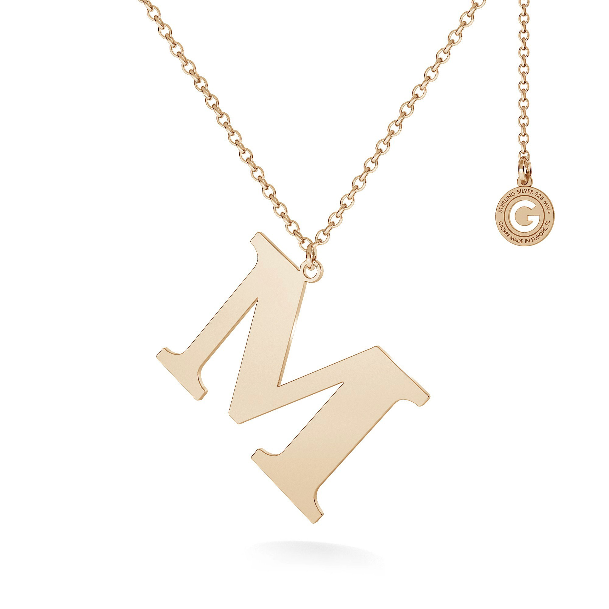 Necklace with 3 cm letter, sterling silver 925
