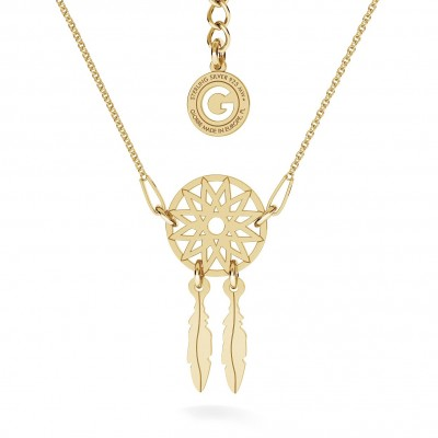 DREAM CATCHER NECKLACE, RHODIUM OR 24K / 18K GOLD PLATED