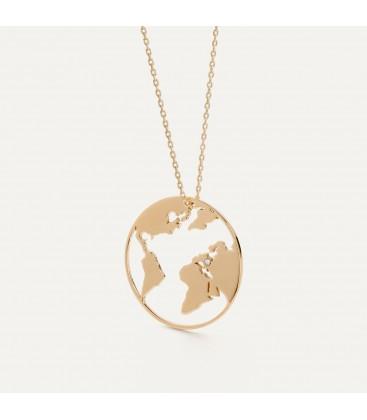 Mapa del mundo collar plata 925
