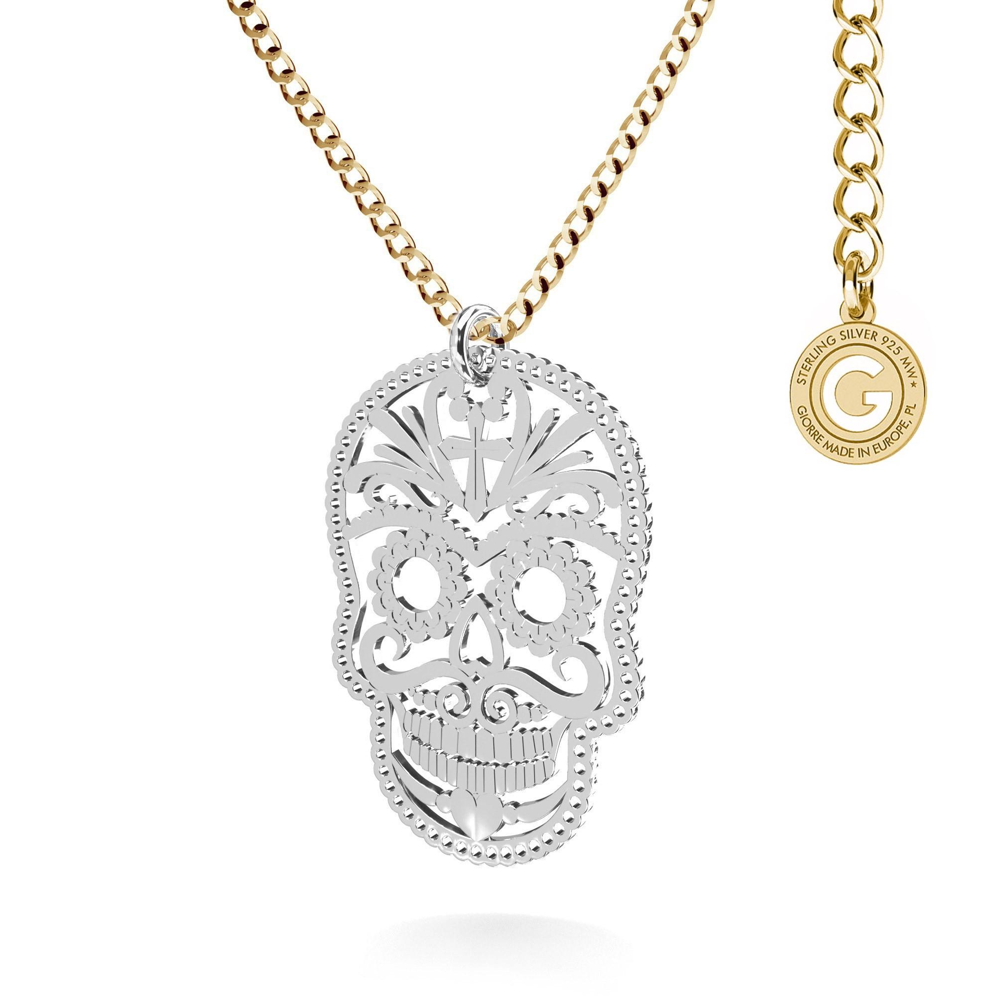 Srebrny naszyjnik medalion MEKSYKAŃSKA CZASZKA 925