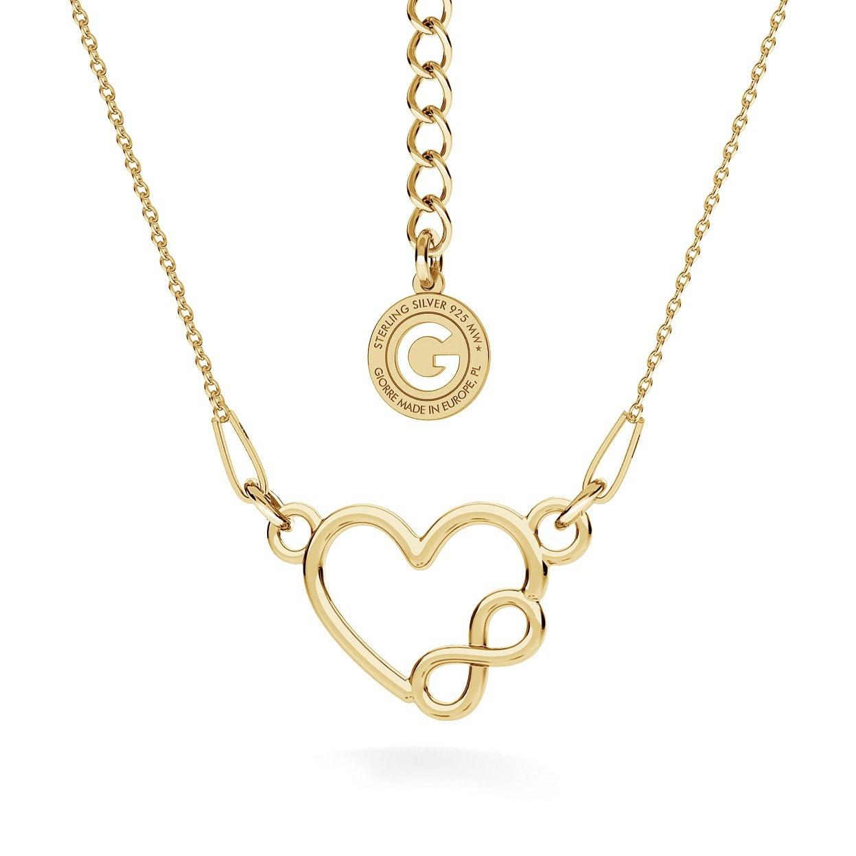 Srebrny naszyjnik serce i znak nieskończoności, srebro 925