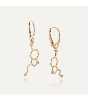 Srebrne kolczyki serotonina, wzór chemiczny, srebro 925