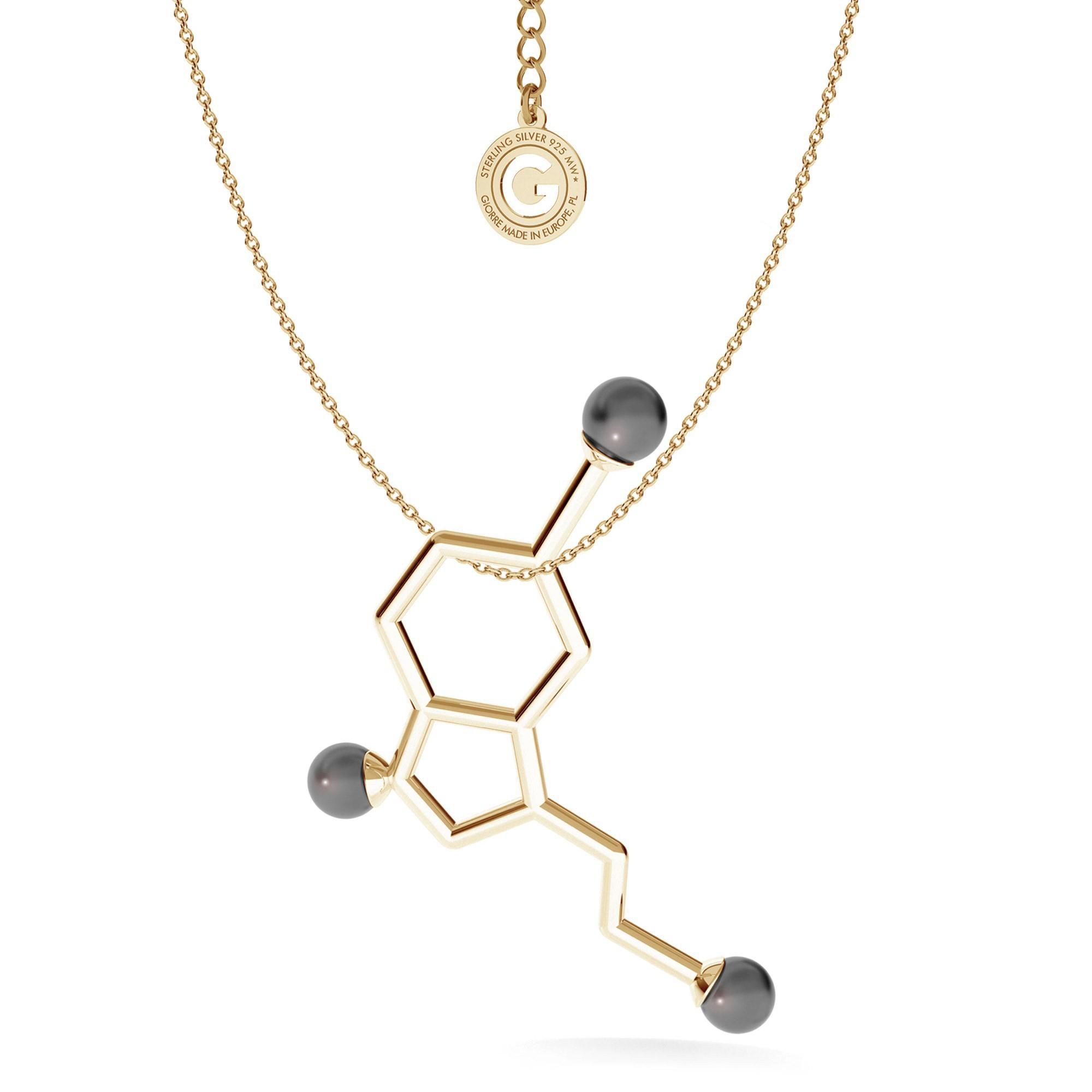 Srebrny naszyjnik SEROTONINA z dużymi perłami Swarovskiego, wzór chemiczny 925