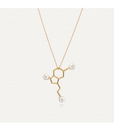 Srebrny naszyjnik - serotonina z dużymi perłami Swarovskiego, wzór chemiczny, srebro 925