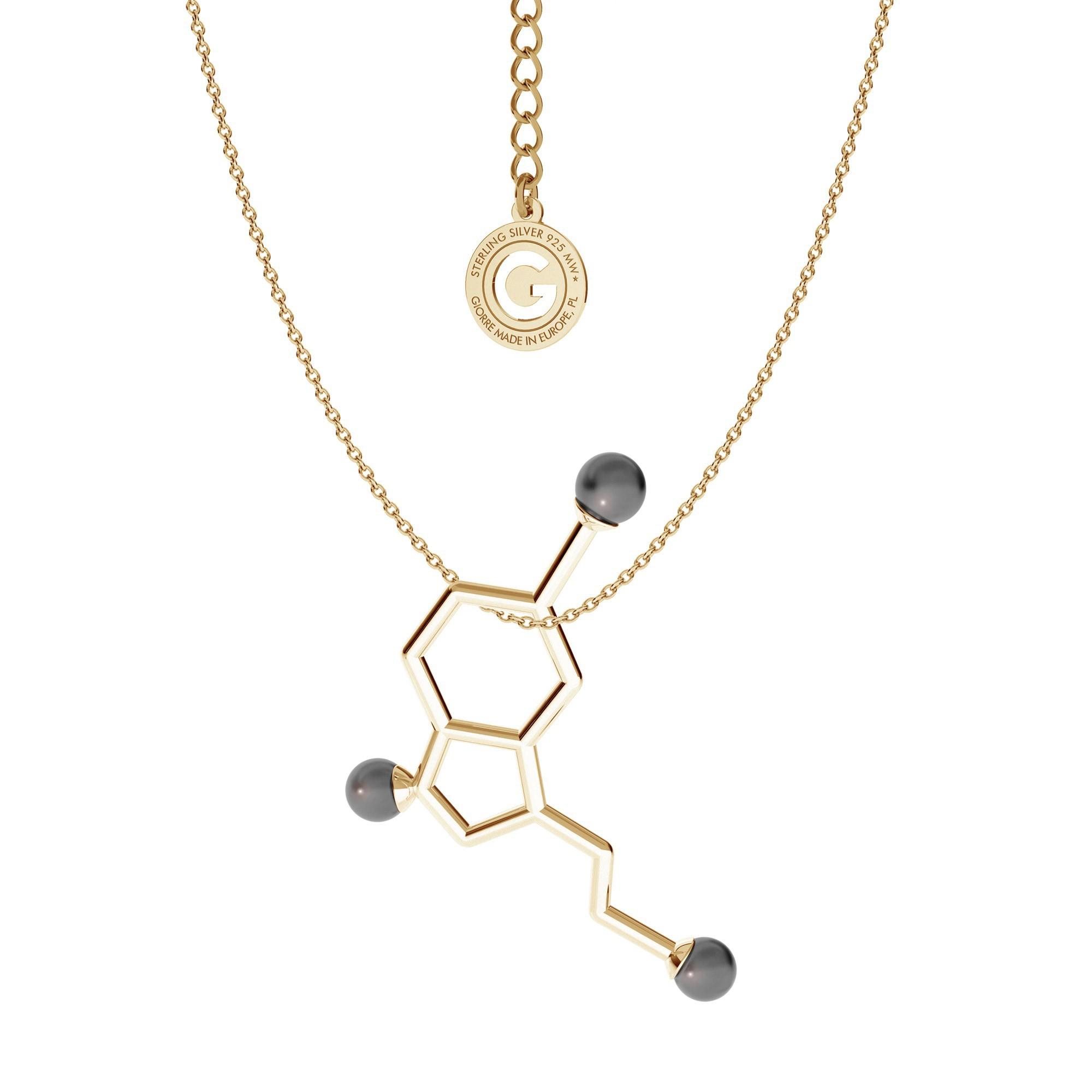 Srebrny naszyjnik SEROTONINA z perłami Swarovskiego, wzór chemiczny 925