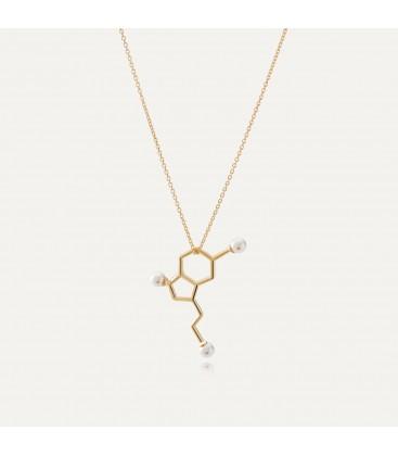 Srebrny naszyjnik - serotonina z małymi perłami Swarovskiego, wzór chemiczny, srebro 925