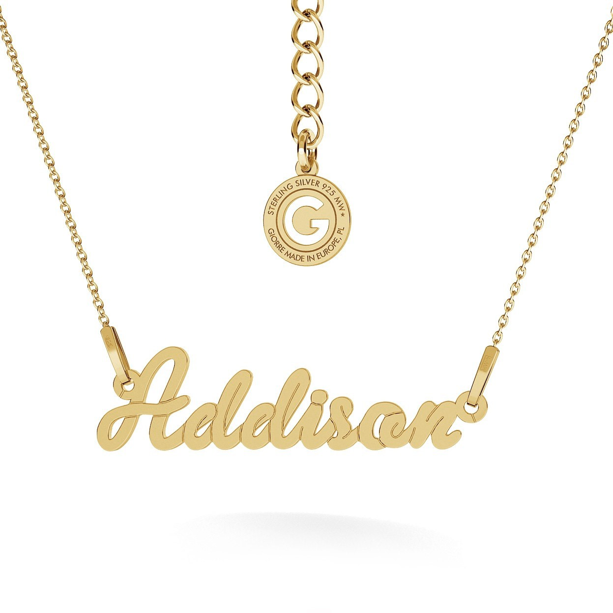 SIMPLE STYLE NAME NECKLACE, RHODIUM OR 24K / 18K GOLD PLATED