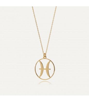 Piscis signo del zodiaco collar plata 925