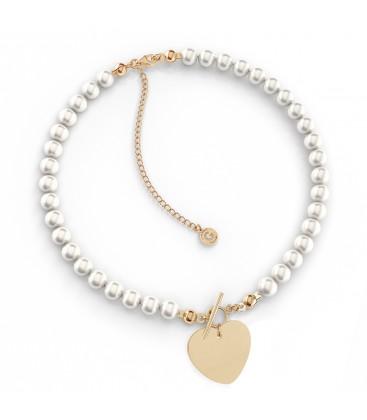 Srebrny perłowy choker serce z grawerem, srebro 925