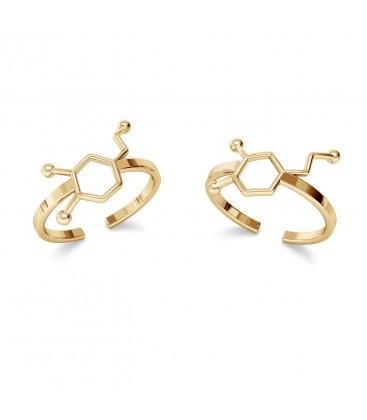 Srebrny pierścionek - dopamina, wzór chemiczny, srebro 925