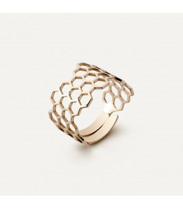 Bienenwabe ring, silber 925