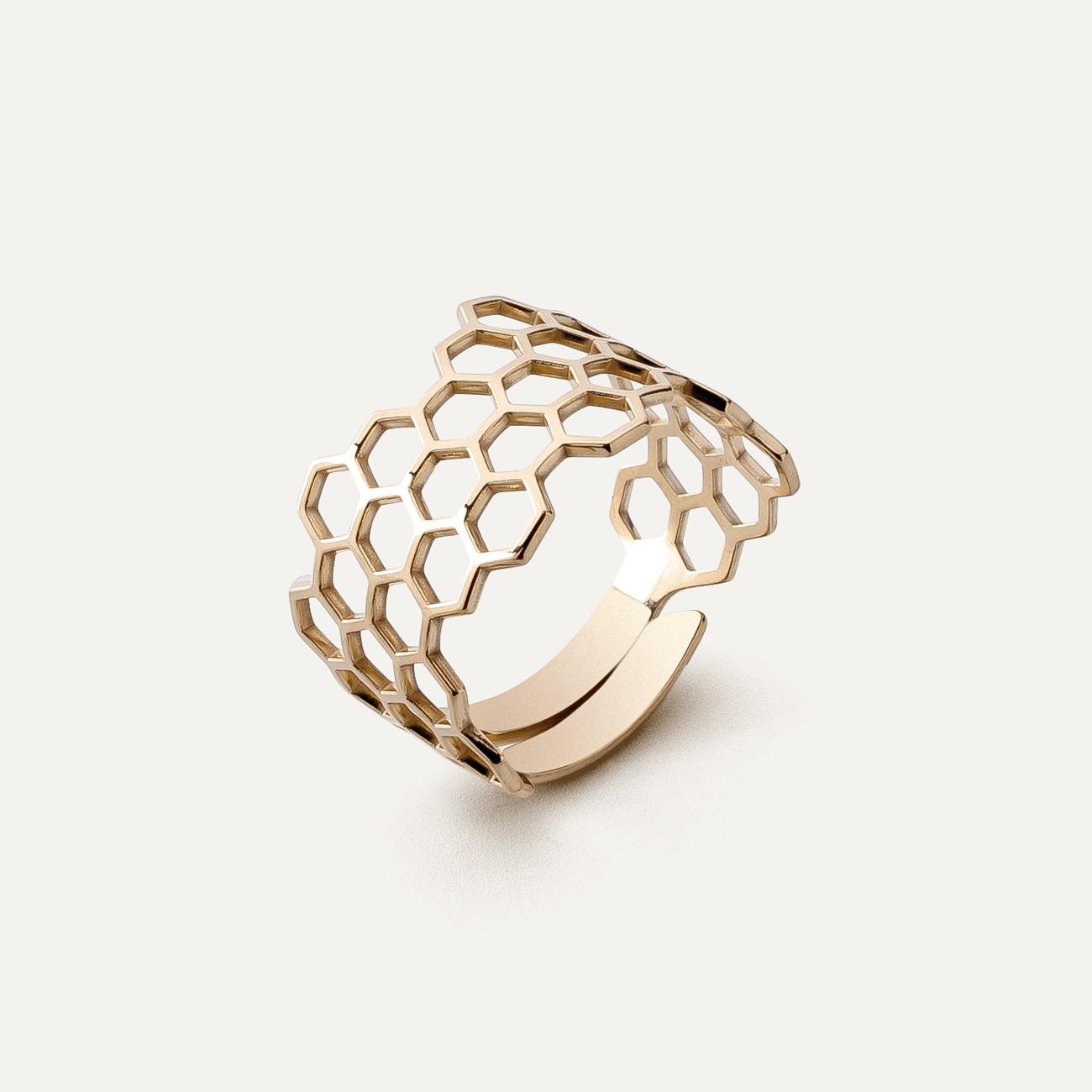 Srebrny pierścionek - plaster miodu, srebro 925