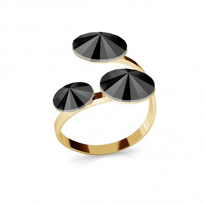 RIVOLI RING WITH 3 STONES, SWAROVSKI