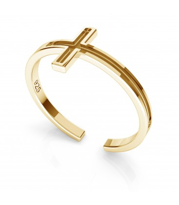 Srebrny pierścionek z krzyżykiem, srebro 925