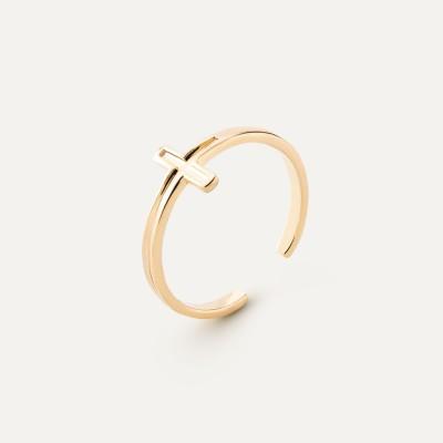 Srebrny pierścionek z krzyżykiem, sznurek 925