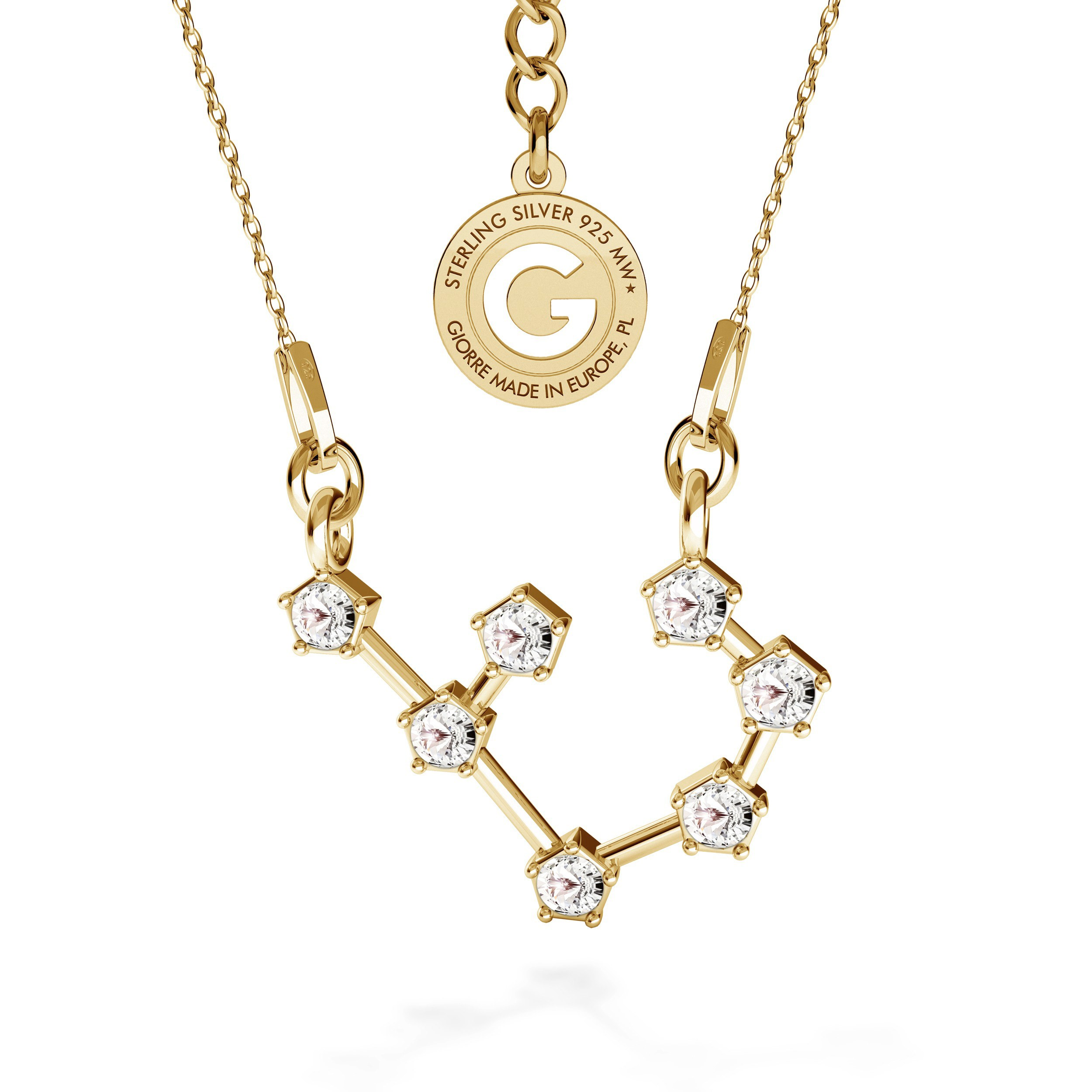 SAGITTARIUS zodiac sign necklace with Swarovski Crystals silver 925