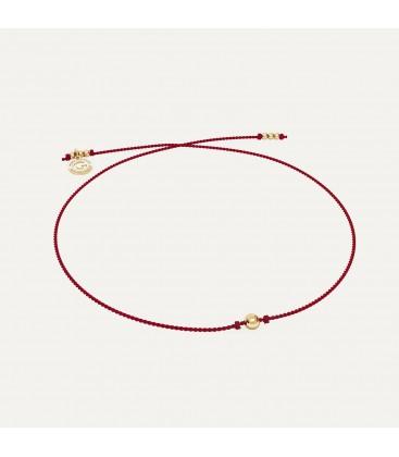 Bracciale in cordino rosso PALLA 4 mm argento 925