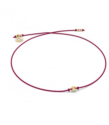 Red cord bracelet with 4 mm BALL sterling silver 925