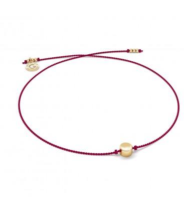 Rotes Kordelarmband RUNDEN beads sterling silber 925