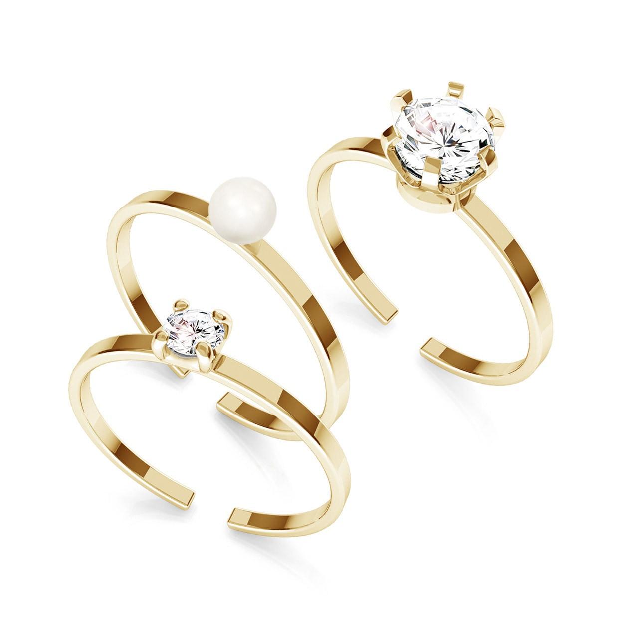 Zestaw pierścionków My RING™ z cyrkoniami i perłą Swarovskiego, srebro 925