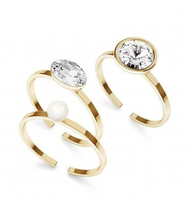 Zestaw pierścionków My RING™ z kryształami i perłą Swarovskiego, 925