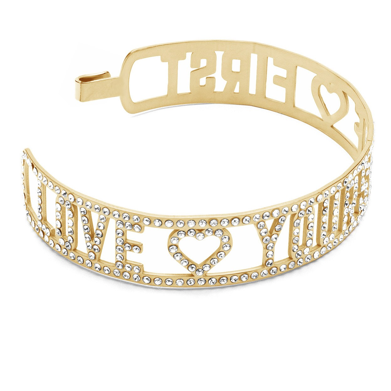 LOVE YOURSELF FIRST BANGLE BRACELET WITH SWAROVSKI CRYSTALS, STERLING SILVER 925