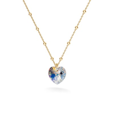GOLD PLATED NECKLACE WITH HEART SWAROVSKI CRYSTALS