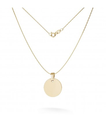 Necklace with round tag pendant engraving 585 14k, model 25