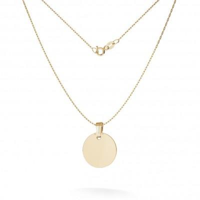 Halskette mit runder anhänger gravur, GOLD 14K, MODEL 25