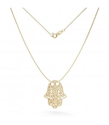 Gold openwork hamsa necklace 14k, model 1