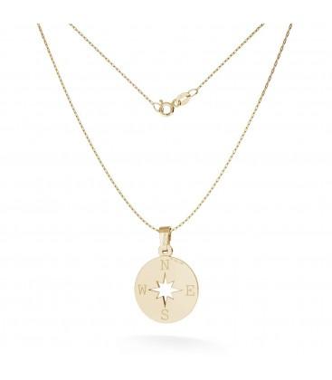 Halskette mit barmherzigkeit windrose anhänger gravur, gold 14k, model 380