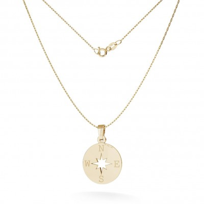 NECKLACE WIND ROSE COMPASS PENDANT 585 14K, MODEL 380