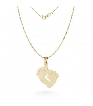 Halskette mit baby füsse anhänger gravur, gold 14k, model 482