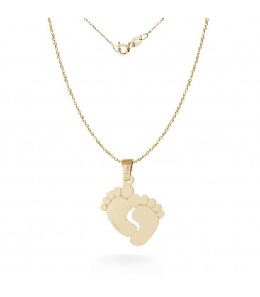 Necklace with baby feets pendant engraving 585 14k, model 482