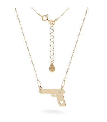 Gold gun with hearts necklace 14k