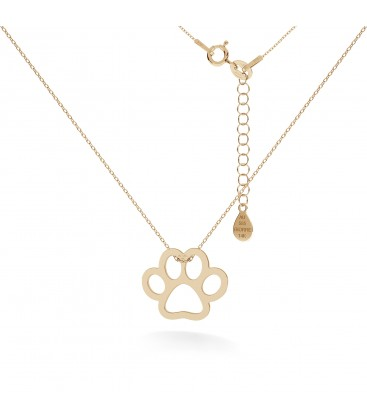 Gold necklace dog paw 14k
