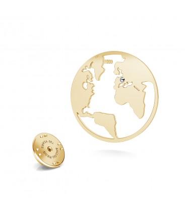 Globe lapel pin MON DÉFI satin silver 925 Swarovski