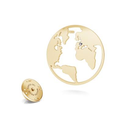 Globus revers pin 925 Swarovski