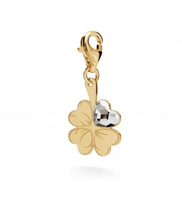 Srebrny charms beads zawieszka koniczyna serce swarovski 925