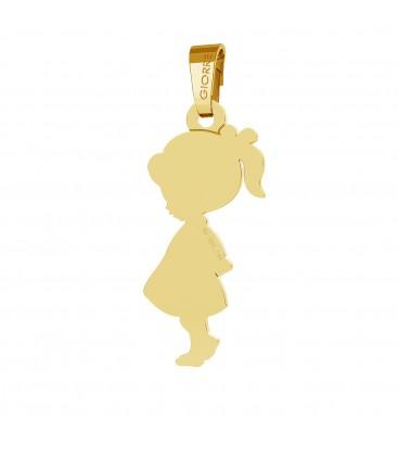 Złota zawieszka dziewczynka grawer au 585