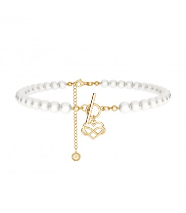 Pearls choker with infinity heart Silver 925