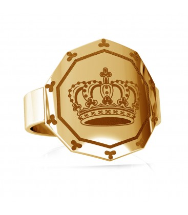 Anillo de sello con corona, plata 925