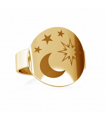 Moon signet, sterling silver 925