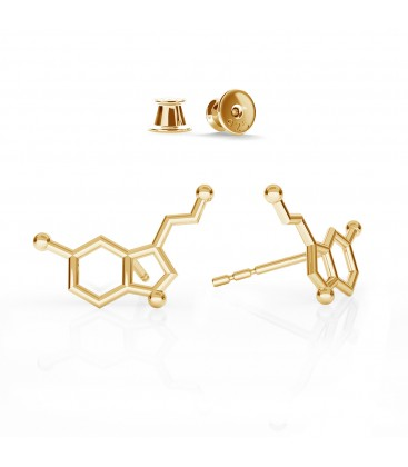 Earrings serotonin chemical formula, sterling silver