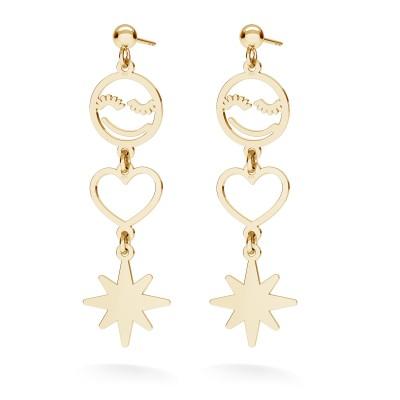 SMILE HEART STAR earrings sterling silver 925