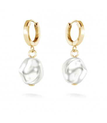 Earring with irregular pearl, MON DÉFI sterling silver 925
