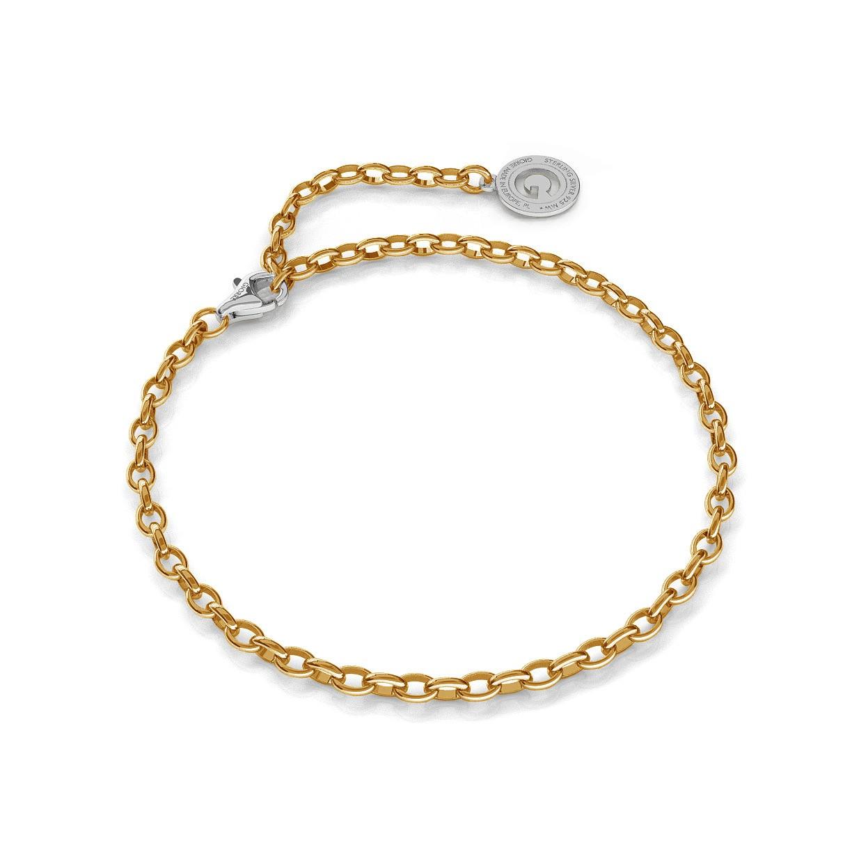 Pulsera de plata 16-24 cm oro amarillo, cierre de rodio claro, enlace 4x3mm