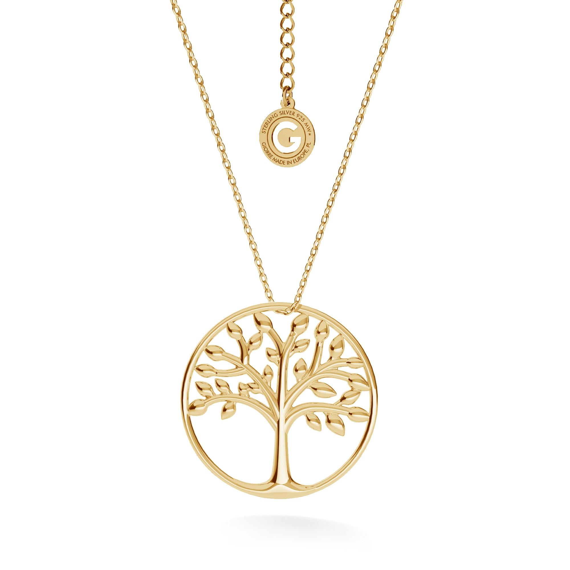 Srebrny naszyjnik drzewo szczęścia w okręgu, srebro 925