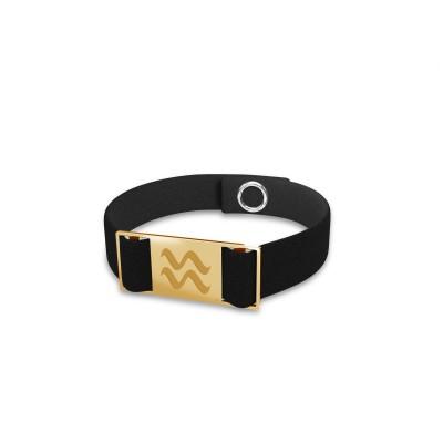 Aquarius zodiac sign bracelet, alcantara & sterling silver 925