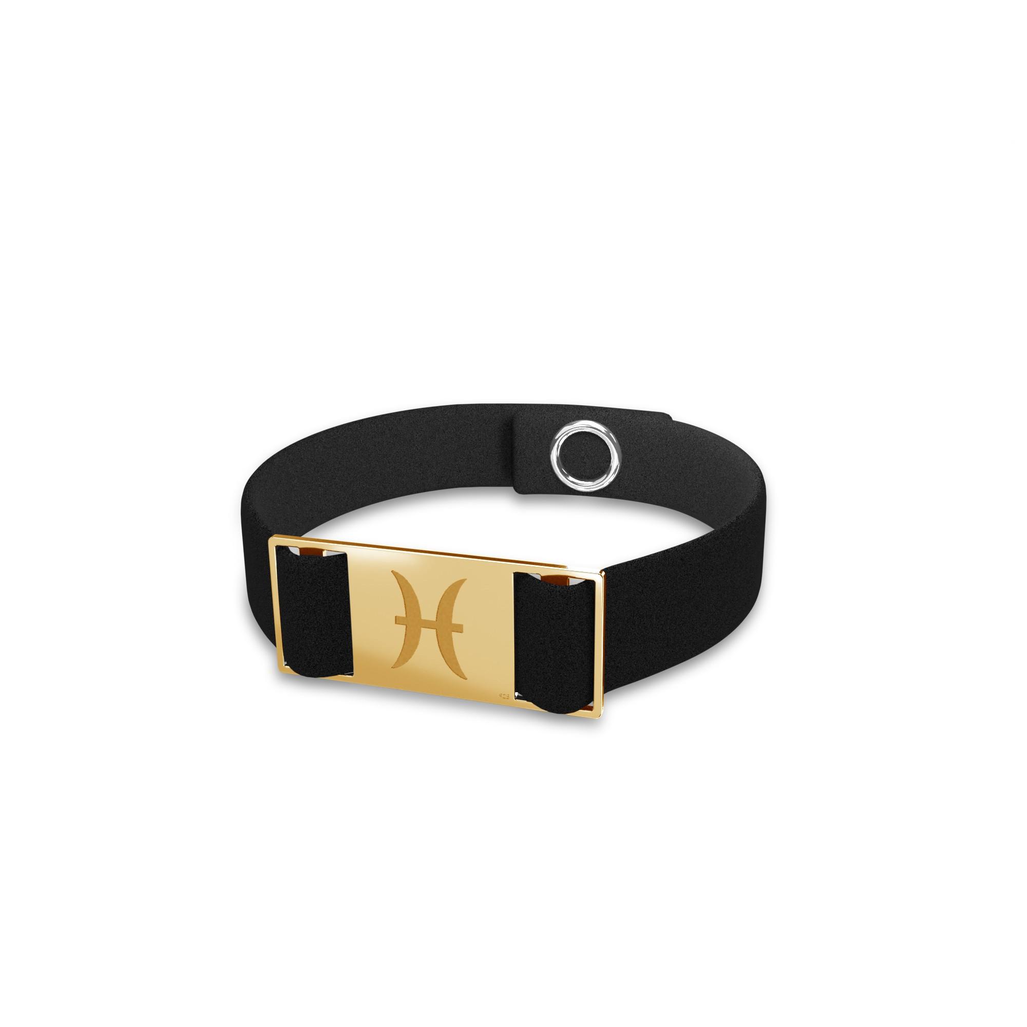 Pisces zodiac sign bracelet, alcantara & sterling silver 925